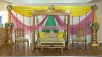 Asian Wedding Stage With Golden Swing
