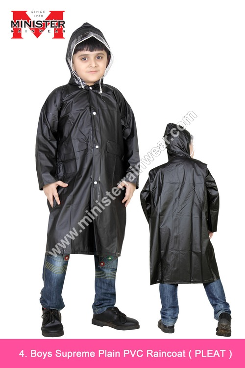 Boys Supreme Plain PVC Raincoat ( Pleat )