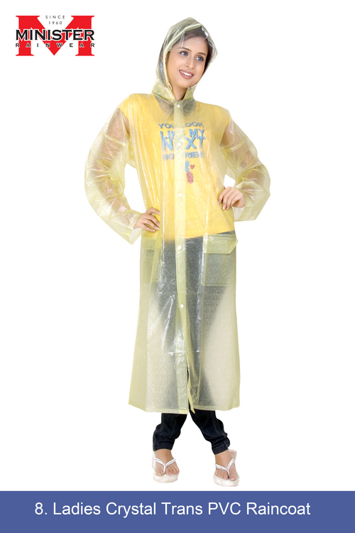 Ladies Crystal Trans PVC Raincoat