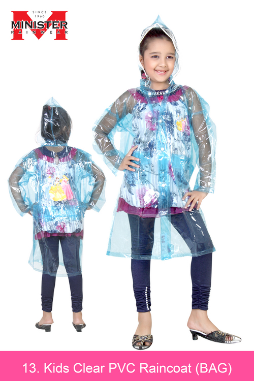 Kids Clear PVC Raincoat  ( BAG )
