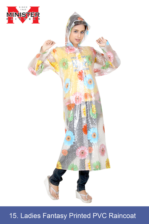 Ladies Fantasy Printed PVC Raincoat