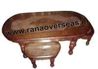 Wooden hand Carved Brass Inlay Center Table