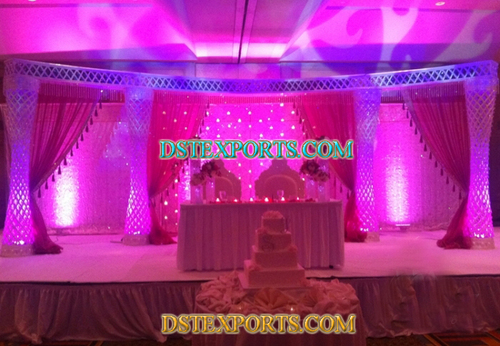 Latest Asian Wedding Crystal Pillars Stage