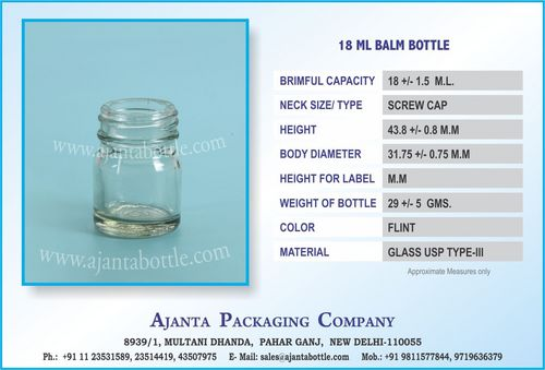 18 ML BALM GLASS BOTTLE