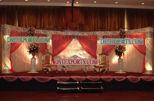 Asian Wedding Crystal Jali Pillar Stage