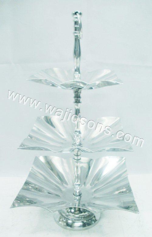 3 tier square aluminium cake stand
