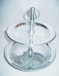 2 tier round aluminium cake stand