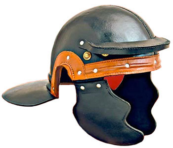 Medieval Roman Trooper Helmet with Black Leather