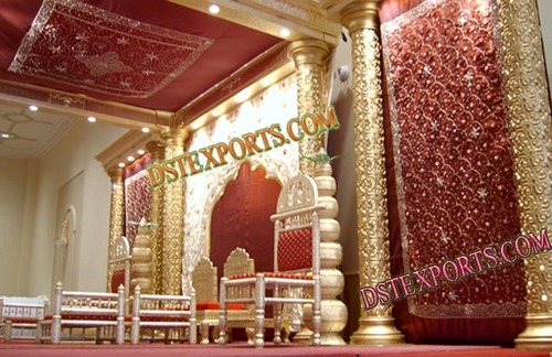 Wedding New Golden Carved Pillars Stage