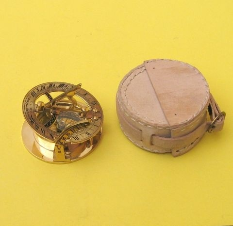 Brass Sundial Compass With White Leather Case