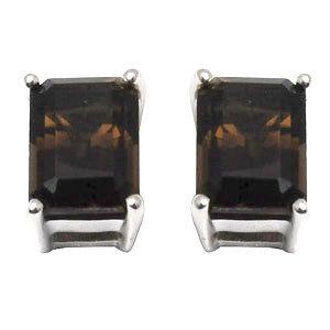 smokey quartz studs earrings customisable silver earrings