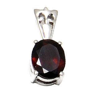 simple gemstone silver pendant garnet pendant red color birthstone pendant jewelry