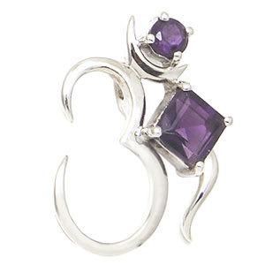 shiva om pendant with gemstone religious silver gemstone pendant amethyst spritual pendant