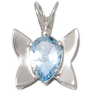 blue topaz butterfly pendant, baby silver pendant, genuine gemstone silver jewelry for girls
