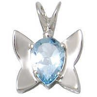 blue topaz butterfly pendant, baby silver pendant, genuine gemstone silver jewelry for girls
