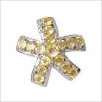 Star Shaped Yellow Citrine Pendant Round Gemstone