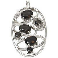 loop pendant in smoky oval shaped silver gemstone pendant style penants manufacturer for wholesale