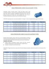 HIGH PRESSURE CHECK VALVE (DART TYPE)