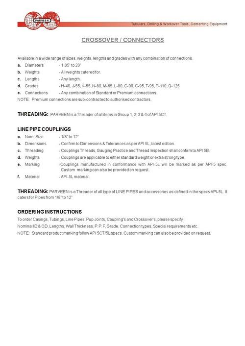 CROSSOVER / CONNECTORS - CROSSOVER / CONNECTORS Exporter