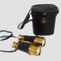 Brass Binocular With Black Leather Box