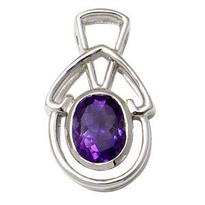 oval shaped amethyst  pendant customizable gemstone silver jewelry purple color stone jewelry