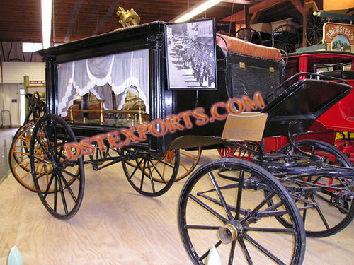 Black Glass Covered Funeral Carriage
