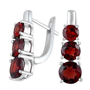 Red Garnet English Clasp Lock Earring Standard Eu