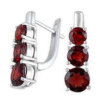 Red Garnet English Clasp Lock Earring Standard Eu