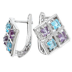 Square Earring Design Multi Color Princess Gemsto