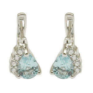 Cz Studded Blue Stone Silver Earrings Party Wear
