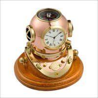 Copper Divers Helmet With Clock On Wooden Base