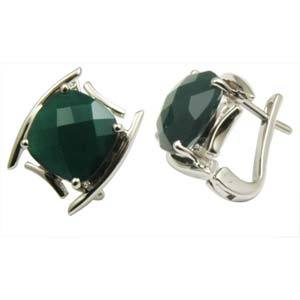 checker board green agate earring designcushion stone with english clasp lockswholesale jewelry