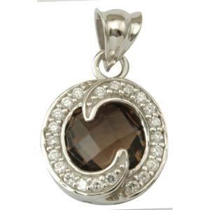 designer gemstone latest design roundcubic zirconia studded smoky pendant