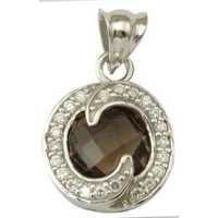 designer gemstone latest design roundcubic zirconia studded smoky pendant