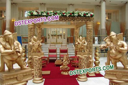 Indian Wedding Golden Square Mandap