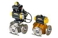 Pneumatic Actuator Operated 3 Way Ball Valve
