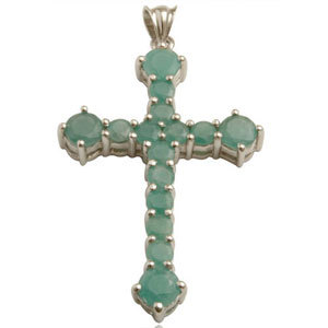 Cross Earrings Emerald With Cross Pattern Religiou