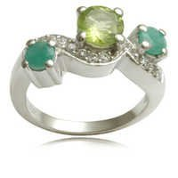 multicolored pave set designperidot and green genu