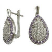 micro pave setting earring design amethyst and cz studded designer earringslook earrings