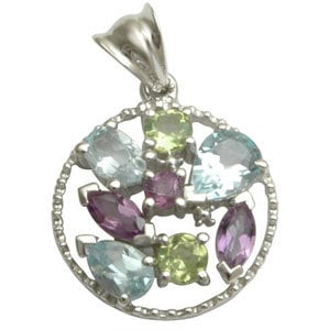 semi precious stone jewelry pendant unisex silver gemstone pendant