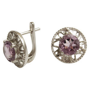 earrings tops simple earring with round stone in silver customisable stone silver earring