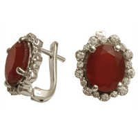 with cz red agate tops earrings red agate silver e