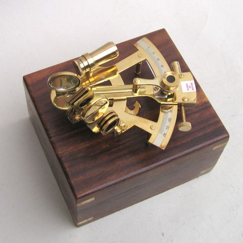 Brass Sextant With Wooden Box