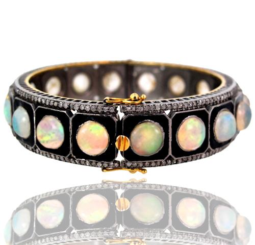 Opal Gemstone Diamond Openable Bangle