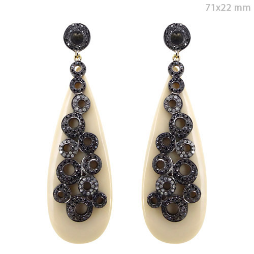 Black White Diamond Pave Silver Dangle Earrings