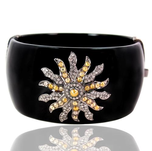 Pave Diamond Designer Silver Bakelite Bangle