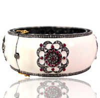 Ruby Gemstone 14k Gold and Sterling Silver Enamel Bangle