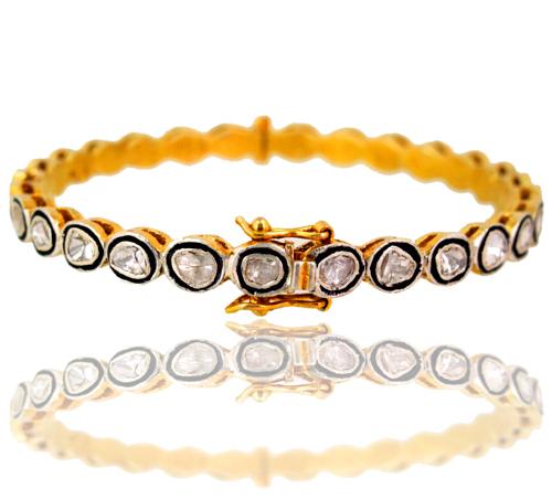 14k Yellow Gold Rose Cut Diamond Bangle