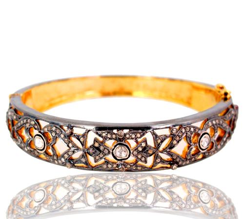Rose Cut Diamond Gold Pave Bangle
