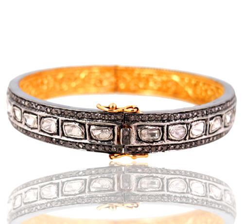 Gold Rose Cut Pave Diamond Bangle